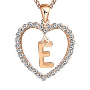 Jewelry - Initial E Monogram Crystal Heart Pendant Necklace